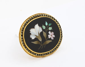 Antique 24K Gold Chinese Pietra Dura Mosaic and Seed Pearl Flower Pin
