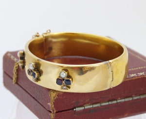 Victorian Trefoil Clover Diamond Sapphire Ruby and Pearl 18K Gold Bangle Bracelet - alpha-omega-jewelry
