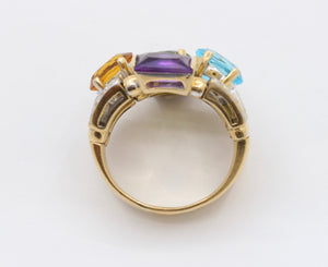 Vintage 18K Gold Diamond Peridot Citrine Amethyst Topaz Statement Ring