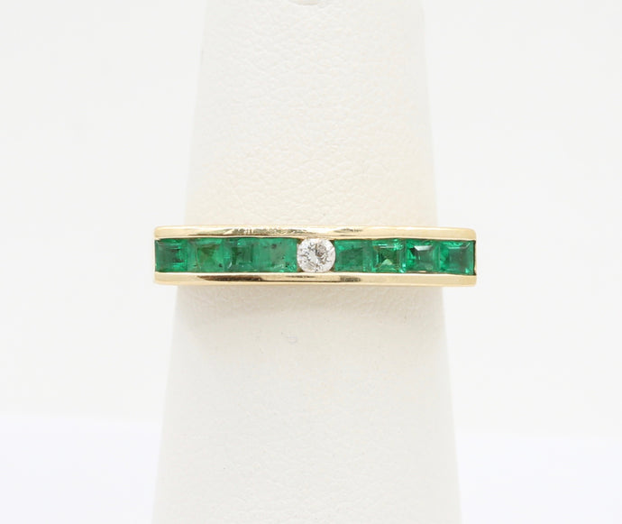 Diamond and Emerald Horizontally Straight 14K Gold Band Stacking Ring