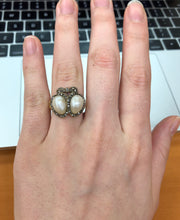 Load image into Gallery viewer, Victorian Natural Pearl and Diamond 18K Gold Double Heart and Bow Ring - alpha-omega-jewelry