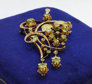 Russian Art Nouveau Demantoid Garnet and 14K Gold Grape Vine Pendant Brooch - alpha-omega-jewelry