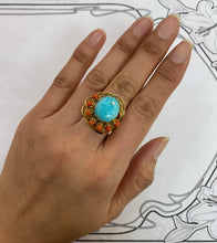 Load image into Gallery viewer, Vintage Native American Turquoise and Coral Feather Motif 14K Gold Ring