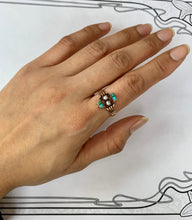 Load image into Gallery viewer, Victorian 14K Gold Turquoise and Pearl Ring