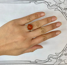 Load image into Gallery viewer, Art Deco 14K White Gold Agate Carnelian Filigree Ring
