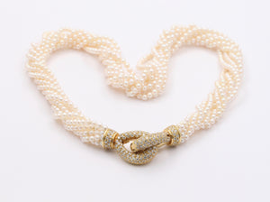 Multi-Strand Torsade Pearl Necklace with Interlocking 18K Gold and 3.5 Carat Diamond Clasp