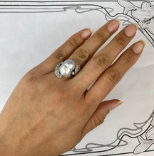 Load image into Gallery viewer, Vintage Baroque Pearl and 1 Carat Diamond Platinum Dinner Ring