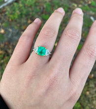 Load image into Gallery viewer, Vintage 2 Carat Emerald and 1.1 Carat Diamond Platinum Alternative Engagement Ring