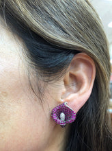 Load image into Gallery viewer, Stunning 8 Carat Natural Ruby and Diamond 18K Gold Lily Flower Clip Earrings - alpha-omega-jewelry