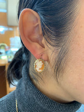 Load image into Gallery viewer, Vintage 14K Gold Shell Cameo Earrings