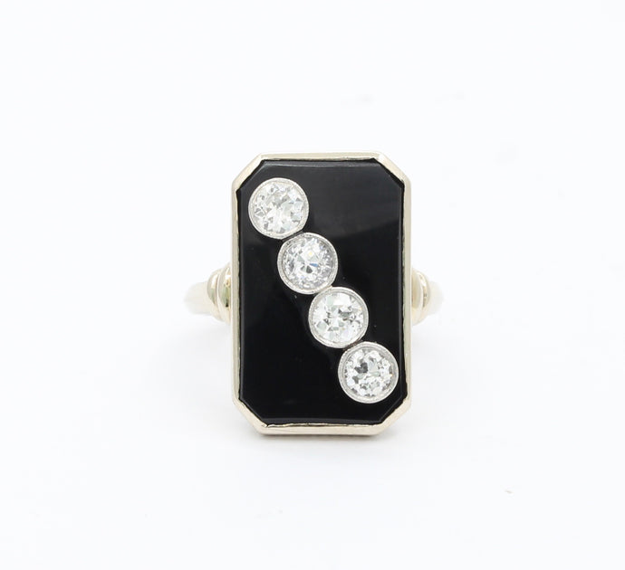 Art Deco 1 Carat Diamond and Onyx Platinum and 14K Gold Ring