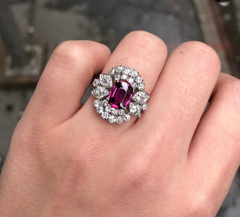 GIA No Heat Ruby and Diamond Midcentury Platinum Dinner Ring