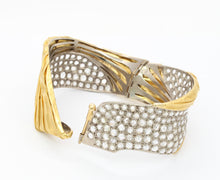 Load image into Gallery viewer, 18K Gold Platinum and 9 Carat Diamond Ribbon Style Statement Bangle Bracelet