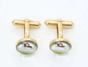 Victorian 14K Gold Essex Crystal Horse and Jockey Equestrian Cufflinks