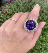 Load image into Gallery viewer, Large Midcentury 19 Carat Amethyst and 4 Carat Diamond 14K Gold Statement Ring