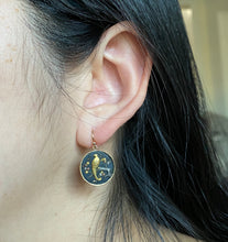 Load image into Gallery viewer, Antique 14K Gold Shakudo Bird and Cherry Blossom Tree Motif Earrings