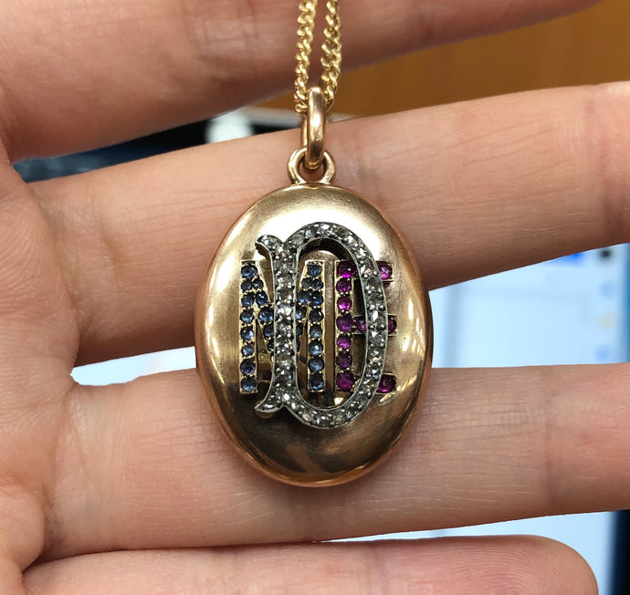 "Victorian Diamond Ruby and Sapphire ""MED"" 14K Gold Locket Pendant - alpha-omega-jewelry"