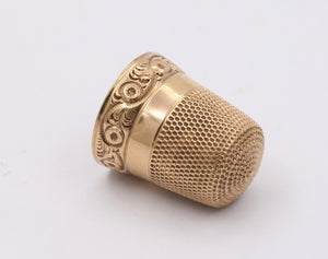 Victorian 14K Gold Engraved Thimble, Size 6 Antique Object
