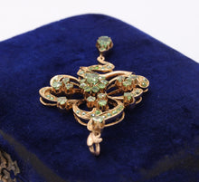 Load image into Gallery viewer, Russian Art Nouveau Demantoid Garnet and 14K Gold Clover Pendant - alpha-omega-jewelry