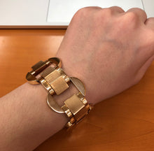 Load image into Gallery viewer, Midcentury 14K Gold Wide Chunky Tank Style Bracelet - alpha-omega-jewelry