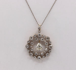 Mid-Victorian Austro-Hungarian 3 Carat Diamond Circle Pendant Necklace Antique - alpha-omega-jewelry