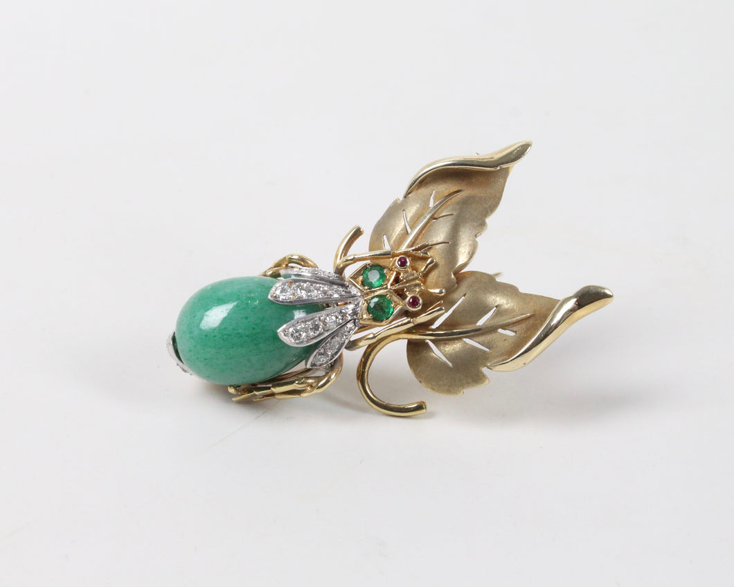 Large Vintage 14K Gold and Aventurine Diamond Bug Insect Leaf Brooch Pin