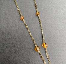 Load image into Gallery viewer, Art Deco 14K Gold and Citrine Briolette Drop Filigree Necklace