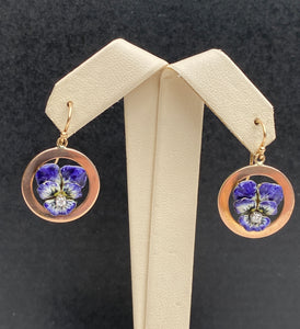 Art Nouveau 14K Gold and Diamond Enamel Violet Pansy Dangling Earrings