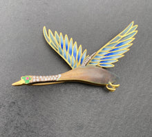 Load image into Gallery viewer, Large Vintage 18K Gold Plique a Jour Enamel and Diamond Duck Brooch Pin