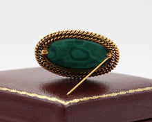 Load image into Gallery viewer, Vintage Malachite Intaglio of Saturn Cronos in 14K Gold Brooch Pin - alpha-omega-jewelry