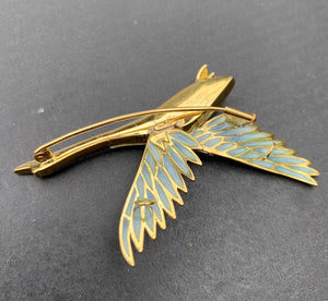 Large Vintage 18K Gold Plique a Jour Enamel and Diamond Duck Brooch Pin