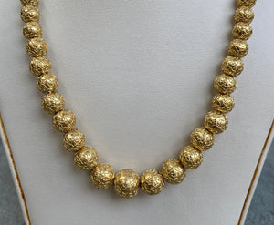 Victorian Etruscan Revival 14K Gold Bead Necklace Chain