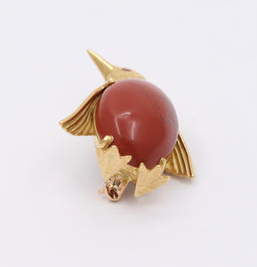 Vintage 18K Gold and Jasper Penguin Brooch, Italian Bird Pin