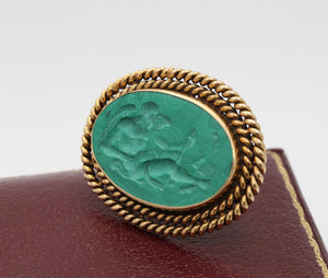 Vintage Malachite Intaglio of Saturn Cronos in 14K Gold Brooch Pin - alpha-omega-jewelry