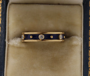 18K Gold Diamond and Blue Enamel Stacking Ring Eternity Band - alpha-omega-jewelry