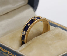 Load image into Gallery viewer, 18K Gold Diamond and Blue Enamel Stacking Ring Eternity Band - alpha-omega-jewelry
