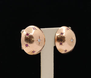 Retro 14K Rose Gold Diamond and Ruby Star Button Clip Earrings - alpha-omega-jewelry