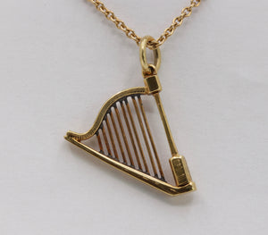 Vintage 14K Gold Harp Musical Charm Pendant - alpha-omega-jewelry