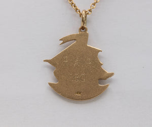 Vintage 14K Gold High Relief Ship Boat Maritime Charm - alpha-omega-jewelry