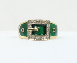 Vintage 18K Gold English Green Enamel and Diamond Buckle Ring