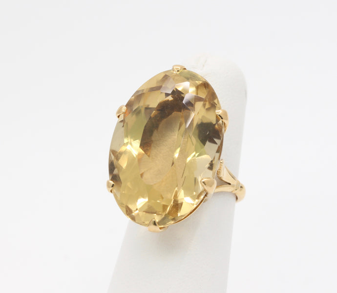 Large 18K Gold and 38 Carat Natural Citrine Cocktail Statement Ring