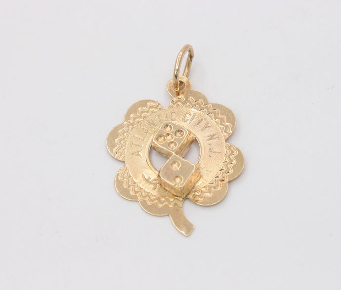 Vintage 14K Gold Good Luck Atlantic City Four Leaf Clover Dice Charm Pendant - alpha-omega-jewelry