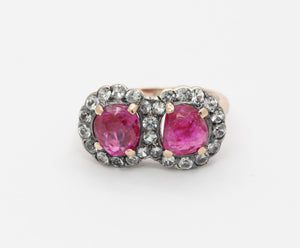 GIA Certified Burma No Heat Ruby and White Sapphire Victorian Ring