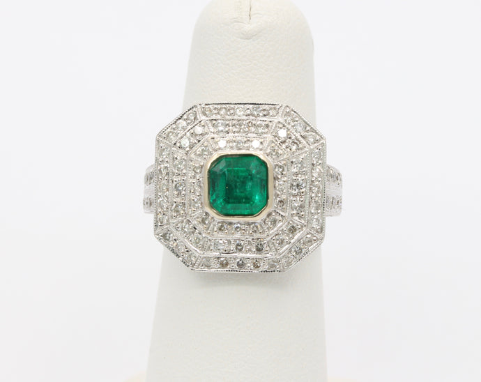 Large 1.1 Carat Emerald and Diamond 14K Gold Statement Ring
