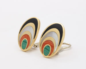 Vintage 1970s Inlaid Malachite Coral Onyx and Mother of Pearl 18K Gold Clip Earrings - alpha-omega-jewelry