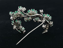 Load image into Gallery viewer, Vintage 2.1 Carat Diamond and Emerald 14K Gold Flower Pin Brooch