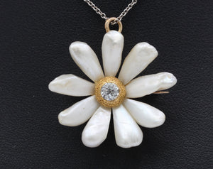 Art Nouveau Pearl and Old Cut Diamond 14K Gold Daisy Flower Pendant Pin