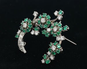 Vintage 2.1 Carat Diamond and Emerald 14K Gold Flower Pin Brooch