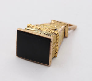 French Victorian 18K Gold Tower Manuel Depute Onyx Charm Fob