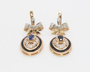 Vintage 14K Rose Gold Enamel Diamond and Sapphire Bow Drop Earrings